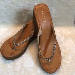 NWOT Aldo Wedge Sandals with Metallic Bling